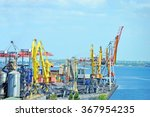 container stack and ship under... | Shutterstock . vector #367954235