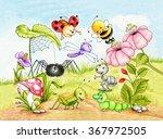 funny garden  ant  ladybug ... | Shutterstock . vector #367972505