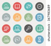 users flat contour icons on... | Shutterstock .eps vector #367983689