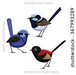 Bird Fairy Wren Set Cartoon...