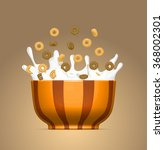 cereal bowl with splashing milk ... | Shutterstock .eps vector #368002301