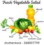 fresh vegetables and olive oil...   Shutterstock .eps vector #368007749