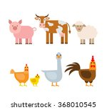 Farm Animals Set. Pig Cow Shee...