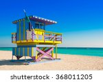 lifeguard tower in south beach  ... | Shutterstock . vector #368011205