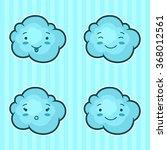 set of kawaii clouds with...