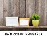 blank photo frames and plant on ... | Shutterstock . vector #368015891