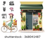 lady shopping flowers by a... | Shutterstock .eps vector #368041487