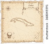 old pirate map of cuba. sepia... | Shutterstock .eps vector #368045591