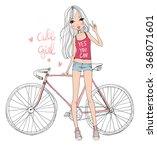 girl with bike  | Shutterstock .eps vector #368071601