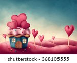 fantasy cup cake house with... | Shutterstock . vector #368105555