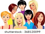 colorful women's faces