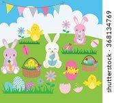 Easter Bunny Set.basket Flower...