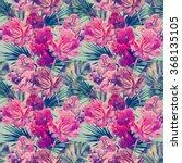 watercolor tropical flowers ... | Shutterstock . vector #368135105