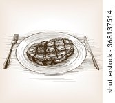 steak sketch style vector... | Shutterstock .eps vector #368137514