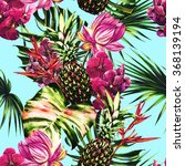 watercolor tropical flowers ... | Shutterstock . vector #368139194