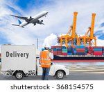 port engineer talking on the... | Shutterstock . vector #368154575