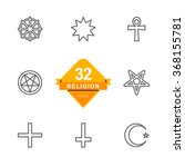 religion   line icons   | Shutterstock .eps vector #368155781