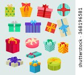 Set Of Gifts Boxes Design Flat...