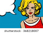 Pop Art Blonde Woman With Red...