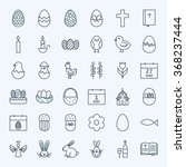 Line Happy Easter Holiday Icon...