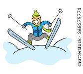 jumping skier. doodle skier ... | Shutterstock .eps vector #368279771