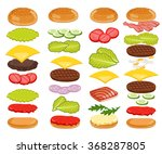 burger ingredients and burger... | Shutterstock .eps vector #368287805