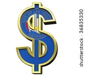 Dollar sign with Las Vegas flag isolated on white. Computer generated 3D photo rendering. - stock photo