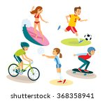 vector set of people and summer ... | Shutterstock .eps vector #368358941