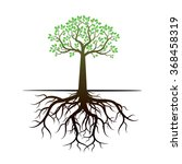 Green Tree And Roots. Vector...