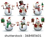 Vector cartoon image of a set of cute white snowmen in different clothes with different attributes of Christmas in hands on a white background. Color image. Christmas, New Year. Vector illustration.