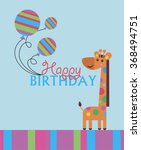 cute happy birthday card with... | Shutterstock .eps vector #368494751
