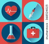 trendy flat medical icons with... | Shutterstock .eps vector #368524025