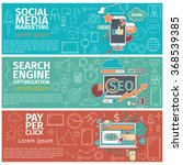 flat concept banners of social... | Shutterstock . vector #368539385