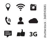 social network icon set. media... | Shutterstock . vector #368543681