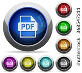 set of round glossy pdf button...