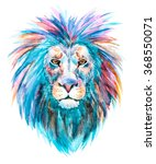 watercolor print head of a lion ... | Shutterstock . vector #368550071