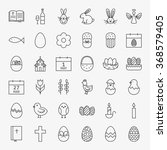 Happy Easter Line Icons Big Se...