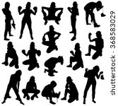 collection of black silhouettes ... | Shutterstock .eps vector #368583029