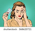 woman with headache pills | Shutterstock .eps vector #368620721