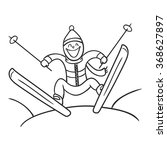 jumping skier. doodle skier ...   Shutterstock .eps vector #368627897