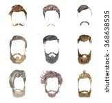 mustache and beard set on white ... | Shutterstock .eps vector #368638535