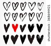 real ink hand drawn hearts.... | Shutterstock .eps vector #368644421