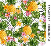 pineapples and tropical flowers ... | Shutterstock .eps vector #368659211