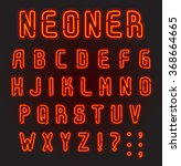 neoner. red neon font  complete ...   Shutterstock .eps vector #368664665