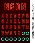 neon font  complete alphabet  ... | Shutterstock .eps vector #368676014
