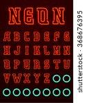neon font  complete alphabet  ...   Shutterstock .eps vector #368676395