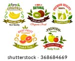 organic food emblems of healthy ... | Shutterstock .eps vector #368684669