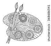 artists palette. zentangle... | Shutterstock .eps vector #368686541