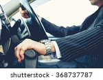 Hand on shifting the gear on car ,man driving car ,businessman ,vintage tone - stock photo