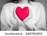 Woman Hold Love Symbol Red...